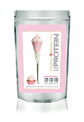 Protein Milkshake Organic Protein Powder – Cupcake Batter – Grass Fed Whey Protein, Low Carb, Keto 22g Protein,1g Carb,110 Cal , Naturally Sweetened, Non-GMO – 1 Pound,15 Servings