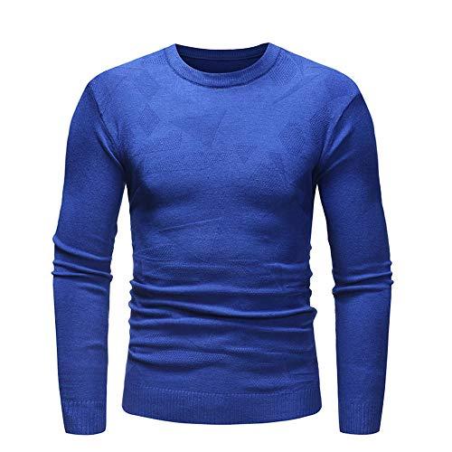 sweatshirt Hommes Rond Encolure Tricot Hiver Avec Bleu Chandail Pull Longues Manches Pour En Slim Maille Homme Pull over vw6x41gHq