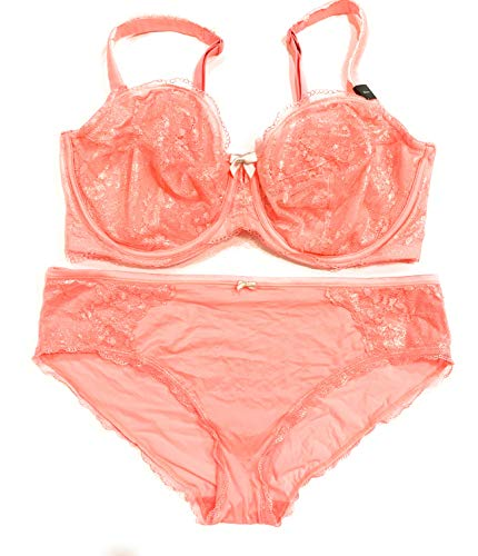 (Victoria's Secret Body Unlined Underwire Demi 38DDD Bra Set with Matching Hiphugger Panty XLarge Light Coral)