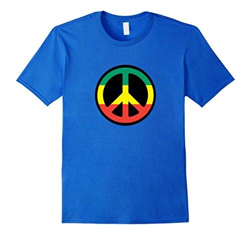 Mens Cool Rastafarian Jamaican Peace Sign Flag Color T-Shirt Medium Royal Blue