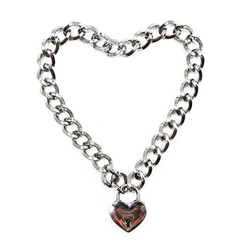 Aaijia Metal Necklace Heart Shaped Lock Choker Unisex Necklace Cosplay Stage Props ( Key 1 pcs) (Size 2: Length: 18 inch)
