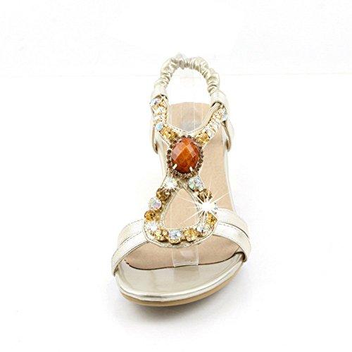 BalaMasa Womens Glass Diamond Solid Open-Toe Cow Leather Sandals Gold nLQ8BKTNTK