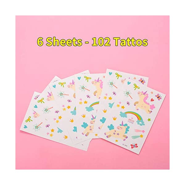 Reusable Unicorn Drinking Plastic Straws + Unicorn Temporary Tattoos for Girls | Unicorn Birthday Party Supplies… 7