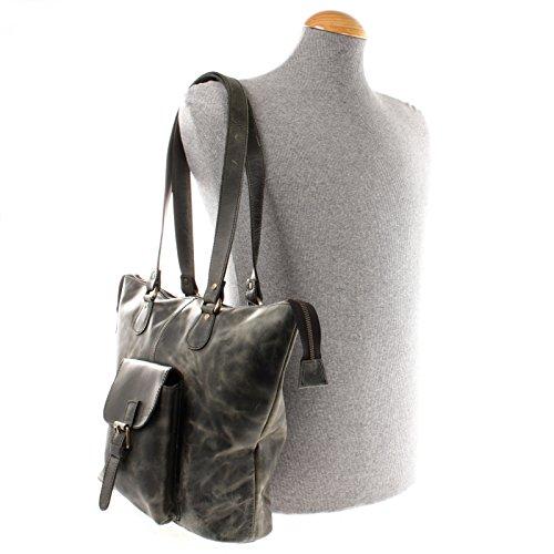 LECONI Shopper groß Henkeltasche Damentasche Rindsleder vintage Ledertasche Damen Schultertasche 38x30x10cm LE0052 grau - waxy