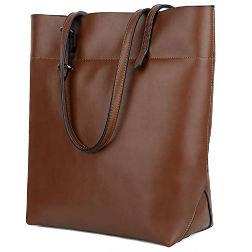 YALUXE Women's Large Capacity Leather Work Tote Zipper Closure Shoulder Bag Tall Brown