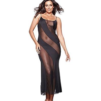 Womens Plus Size Sheer Mesh Lingerie Illusion Nightgown Black Babydoll