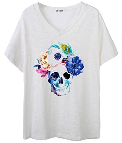 So'each Women's Skull Floral Feather Graphic V-Neck Tee T-shirt Ladies Casual Top Blanco
