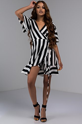 AKIRA Hem Black Mini Stripes Thick Wrap Wide Women White s Dress Ruffle Sleeve rqgPrpFS