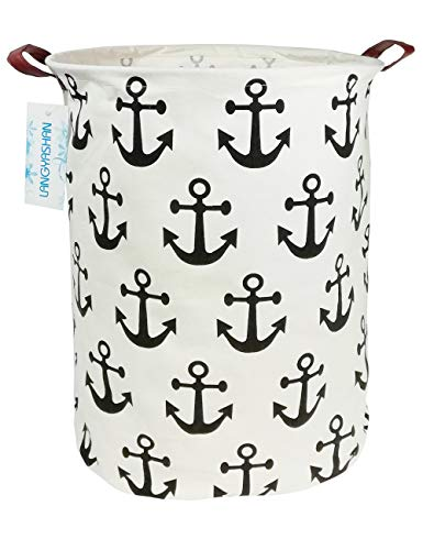 LANGYASHAN Storage Bin,Canvas Organizer Basket for Laundry Hamper,Toy Bins,Gift Baskets, Bedroom, Clothes,Baby Nursery Anchor Hamper (Anchor)