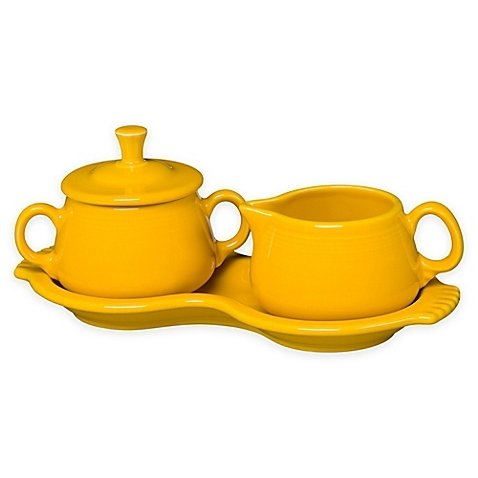 Homer Laughlin 821-342 Sugar Creamer Tray Set, Daffodil