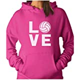 TeeStars - Love Volleyball - Perfect Gift For Volleyball Fans Women Hoodie X-Large Pink