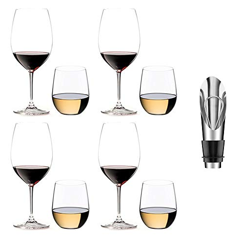 - Riedel 8-Piece Vinum Bordeaux and O Viognier Glassware Set PLUS Wine Pourer with Stopper