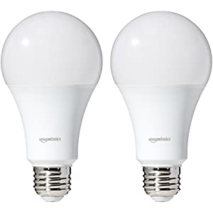 AmazonBasics 100 Watt Equivalent, Soft White, Dimmable, A21 LED Light Bulb | 2-Pack