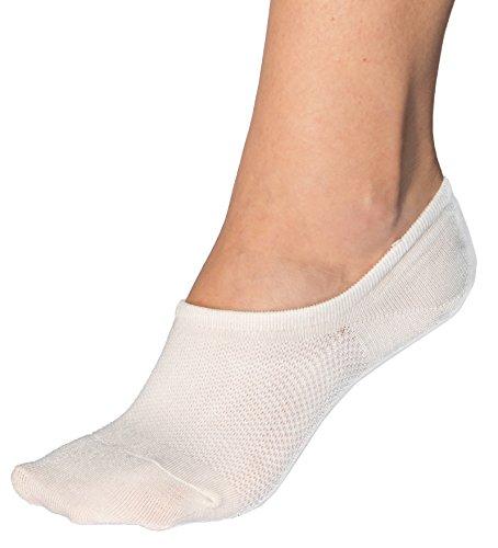 Bam&bü Women's Premium Bamboo No Show Casual Socks - 4 Pairs - White - Medium