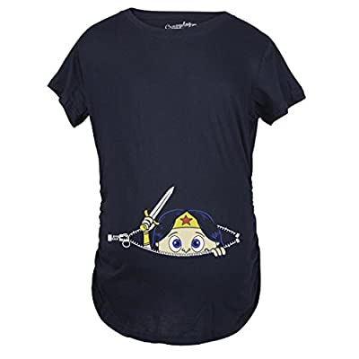 Maternity Super Hero Girl Peeking T-Shirt Cute Woman Hero Funny Pregnancy Tee