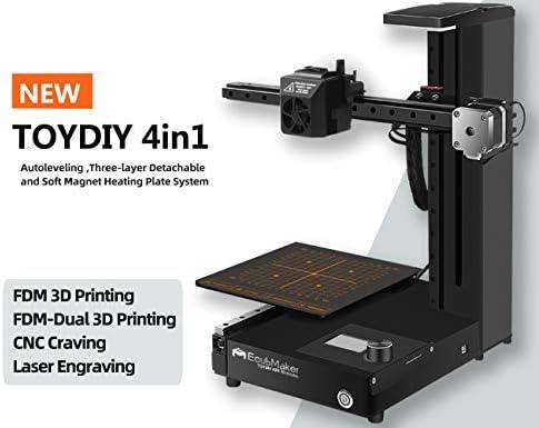 EcubMaker TOYDIY Impresora 3D 4 en 1 FDM láser CNC Dual-FDM con ...