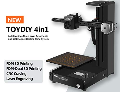 EcubMaker TOYDIY 4in1 3D Printer FDM Laser CNC Dual-FDM with Auto Leveling,Heated (180 x 180 x 180mm) Build Plate,PLA