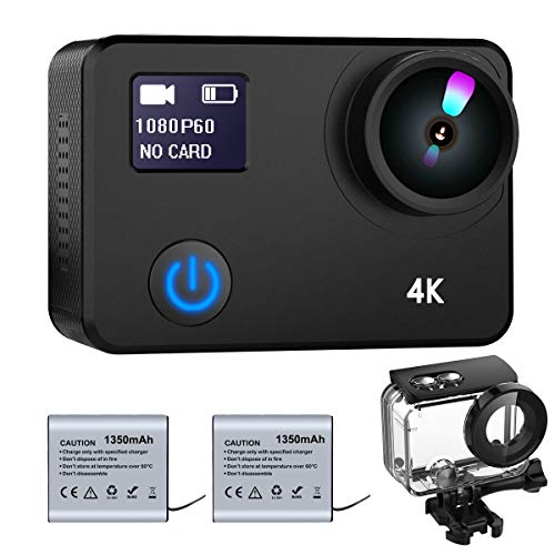 ZOMFOM 4K Waterproof Action Camera 20MP Dual Screen WiFi Underwater Sport Cam with Touch Screen, EIS, Adjustable View Angle, Slow Motion, WDR, Night Vision (21350mAh Battery Included)
