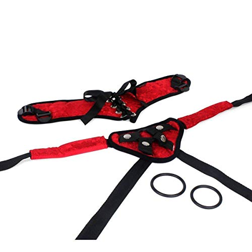 Red Corsette Strap-Ôn Harness with Band for Dido