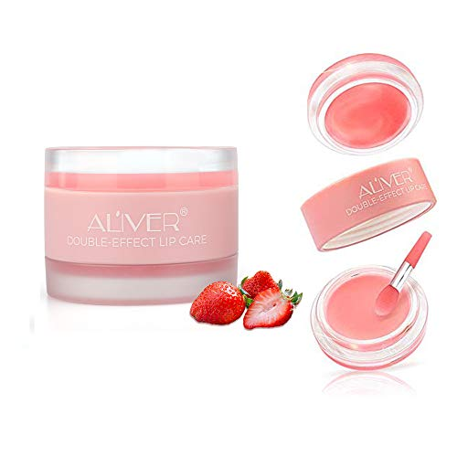 Lip Scrub,Double Effect Lip Sleeping Mask, Lip Treatment,Strawberry Overnight Moisturizing Repairing Lips Mask, Sleeping Lip Balm, Peeling Lips, Lip Primer, Chapped Skin (1pcs lip mask)