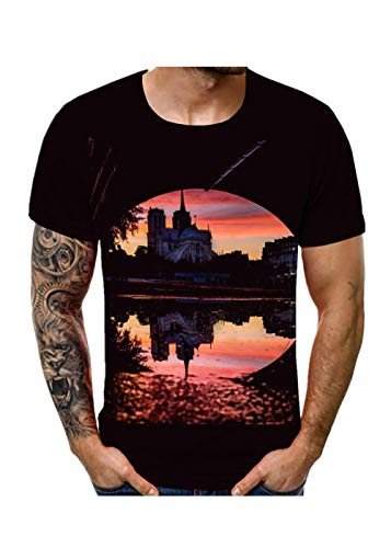 3D Print Beautiful Sunset of Notre Dame de Paris Scenery Unisex Shirt Ultra Cotton Classic Slim Fit T-Shirt for Young Black