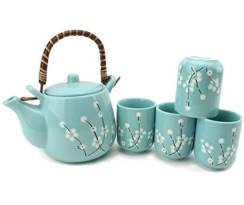 5 PC Japanese Teapot set with Tea Cups ~ Japanese Antique Light Blue Flowers Design and Filter Gift / Birthday gift / Kitchen / Teapot / idea for gift F15699 ~ We Pay Your Sales Tax