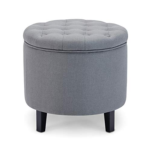 Belleze Nailhead Round Tufted Storage Ottoman Large Footrest Stool Coffee Table Lift Top, Gray