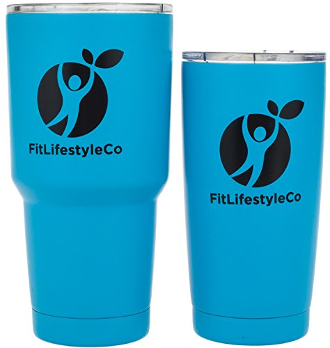 20 OZ + 30 OZ Tumbler Stainless Steel Double Wall Insulated Travel Mug 2 Pack - with Clear Lid, for Hot Coffee Tea or Cold Beverage / Drink - Colored Cup (20+30 ounce, Color Light Blue)