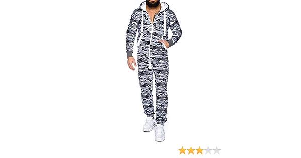 7789 Mens Camouflage Hoodies Jumpsuit Zip Up Casual Long Sleeve Slim Fit Tracksuits Hooded Sweatsuit Playsuit