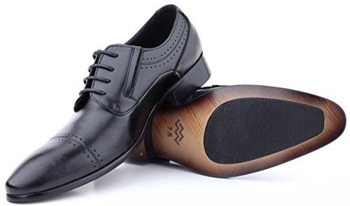 Mio Marino Mens Scarpe Da Sera - Pizzo Ala Oxford - Scarpe Di Cuoio Per Gli Uomini, In Un Sacchetto Di Scarpe - Nero - Puntale - 9,5 D (m) Ci