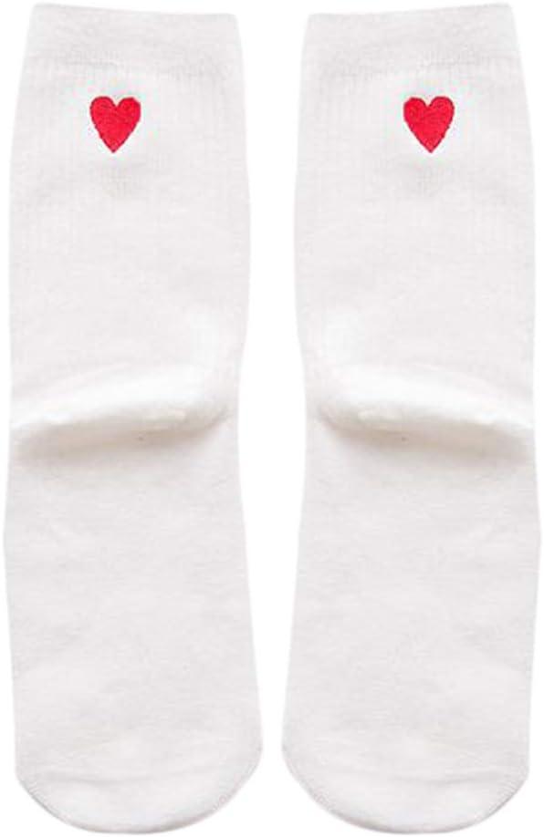 Kanggest.Calcetines Algodon Hombre Mujer Niñas Calcetines Largo Antideslizantes Respirable Calcetines Amor Mujer para Otoño e Invierno Calcetines Calientes Deportivos(Blanco)