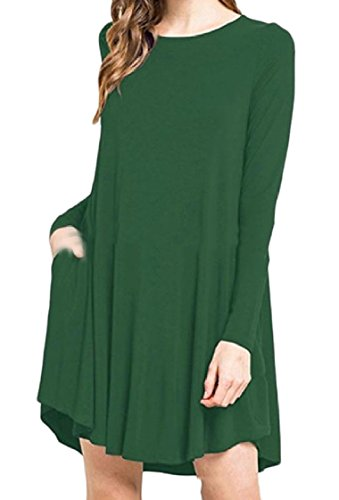 Tasche Moda Partito donne Verde Lunga Manica Solidi Coolred Da Scollo Vestito grgqwUSc