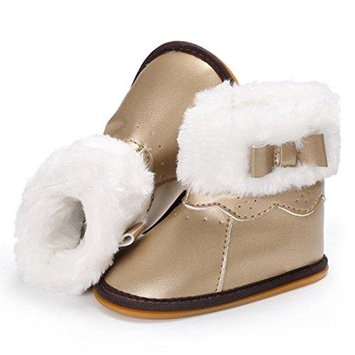Igemy 1 Paar Baby Leder Bowknot Gummi Soft Sole Snow Stiefel Soft Crib Schuhe Kleinkind Stiefel Gold