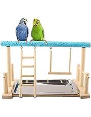 Keer Parrots - Soporte de Madera para pájaros, Perca, Escalera, Columpio con Juguete para Periquito, cacatúa, conura, cacatúa, cacatúa, Guacamayo, Periquito, pinzón Canario