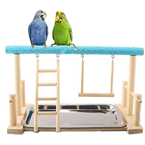 Keersi Parrots Playstand Bird Playground Wood Perch Stand Ladder Swing with Toy for Parakeet Cockatiel Conure African…