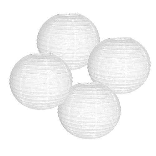 Just Artifacts 8' White Paper Lanterns (Set of 4) - Click for more Chinese/Japanese Paper Lantern Colors & Sizes!