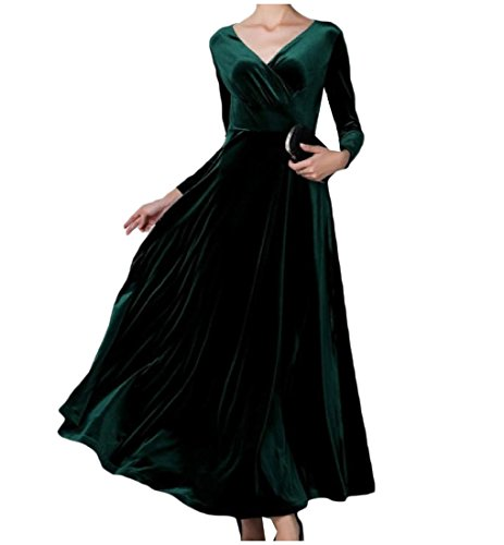 Women Green Pleuche wILD Length Empire Classics Blackish Dress Full Comfy Waist dwqCfPqF