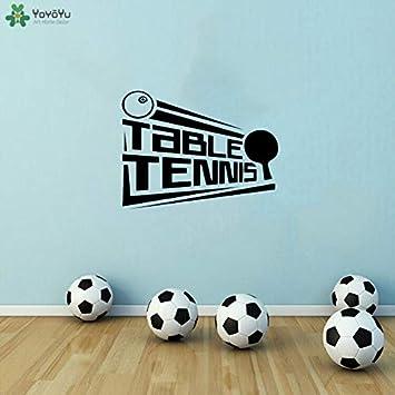 Tatuajes de pared póster de tenis de mesa lWall stickers murales de vinilo gimnasio tenis de mesa deportes niñas niños decoración de la habitación 57x75cm
