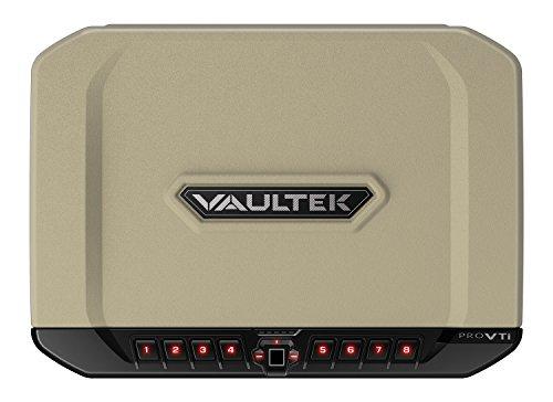 VAULTEK Pro VTi Rugged Biometric Handgun Safe Bluetooth Smart Multiple Pistol Safe with Auto-Open Lid and Rechargeable Battery (Desert Tan)