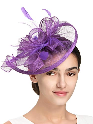Fascinators Hat for Women Kentucky Derby Headband Wedding Mesh Feathers Tea Party Hair Clip (1-Purple)