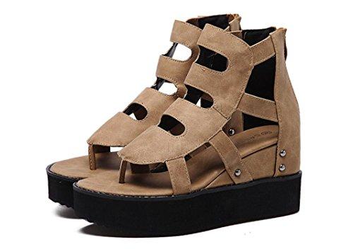 SHFANG Sandalias de señora Aumento interno Cool Boots Roma Pinch toe Poe Alumnos Shopping Daily Dos colores 8cm Khaki