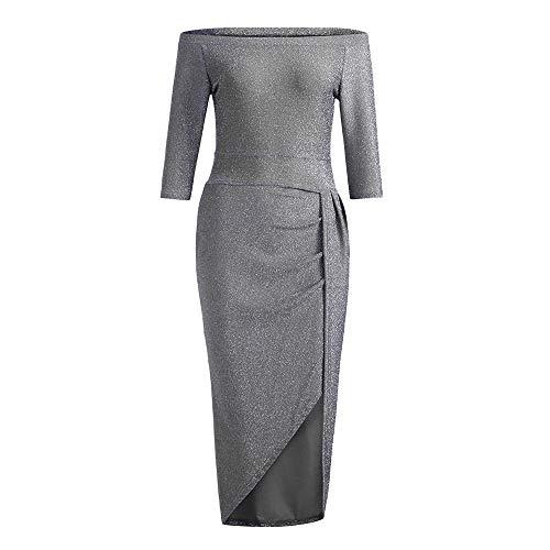 Off Shoulder High Slit Dress Womens Bodycon Dress Long Sleeve Dresses