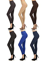 "MOPAS 6-pack: Seamless Fleece Lined Leggings - Stretchy Multi Colors""."