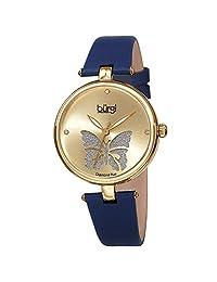 Burgi® BUR189 - Reloj de pulsera para mujer con esfera de corte de rosas con purpurina en polvo satinado, Butterfly Blue Gold