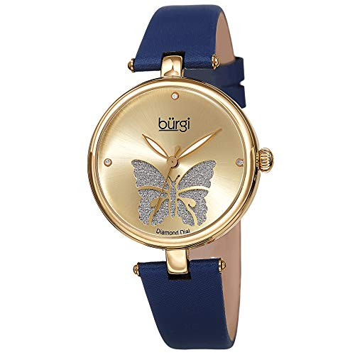 - Burgi Designer Women's Watch – Pretty Butterfly Glitter Dial, Satin Over Genuine Leather Blue Strap, 3 Diamond Markers, Polished Bezel - BUR233YGBU