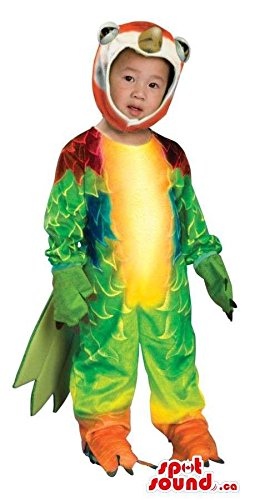 Adult Parrot Plush Costumes (Exotic Green Parrot Toddler Size Plush Costume With Colourful Wings)