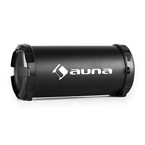 auna Dr. Beat 2.1 Tragbarer Bluetooth-Lautsprecher mobile Lautsprecherbox für Smarthone-Handy Streaming (USB, SD, AUX, UKW-Radio, Akku-Betrieb, Tragegurt) schwarz