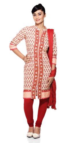 Trishaa Women's Indian Salwar Kameez Set Beige Small