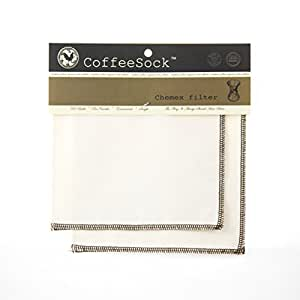 CoffeeSock Reusable Filters Made to Fit Chemex 6 -13 Cup Carafes - GOTS Certified Organic Cotton Reusable Coffee Filters