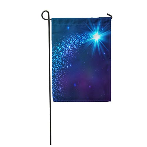 (Semtomn Garden Flag 12x18 Inches Print On Two Side Polyester Night Blue Shining Star Dust Tail Starry Sparkle Trail Magic Home Yard Farm Fade Resistant Outdoor House Decor)